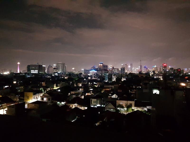 Opinião da noite em jakarta fotos de stock