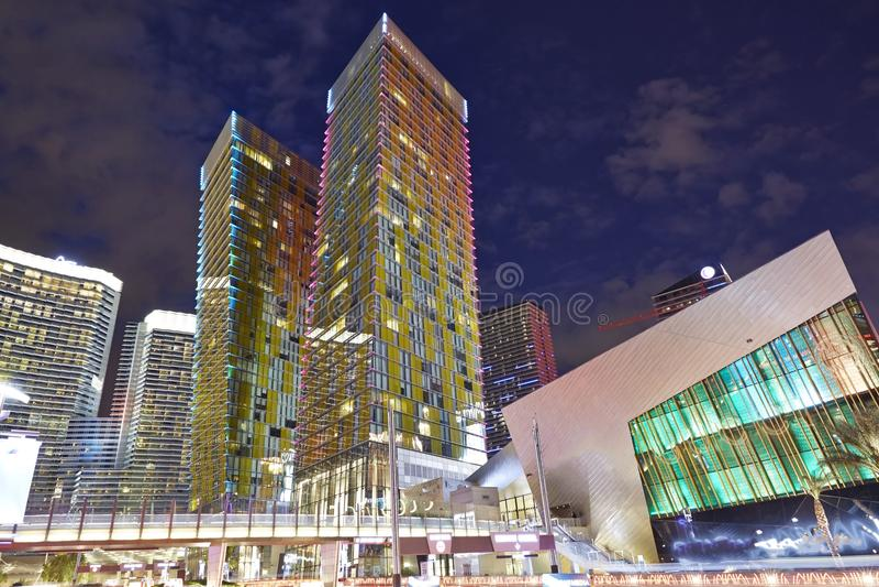 Opinião da noite em Las Vegas fotografia de stock