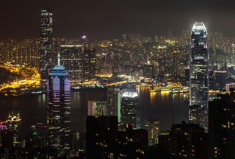 Opinião da noite Hong Kong do pico de Victoria foto de stock
