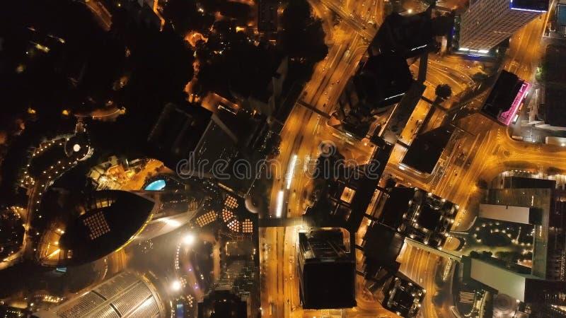 Opinião da noite da ilha de Hong Kong estoque Arranha-céus no centro de negócios de Hong Kong Hong Kong é um turista popular imagem de stock royalty free