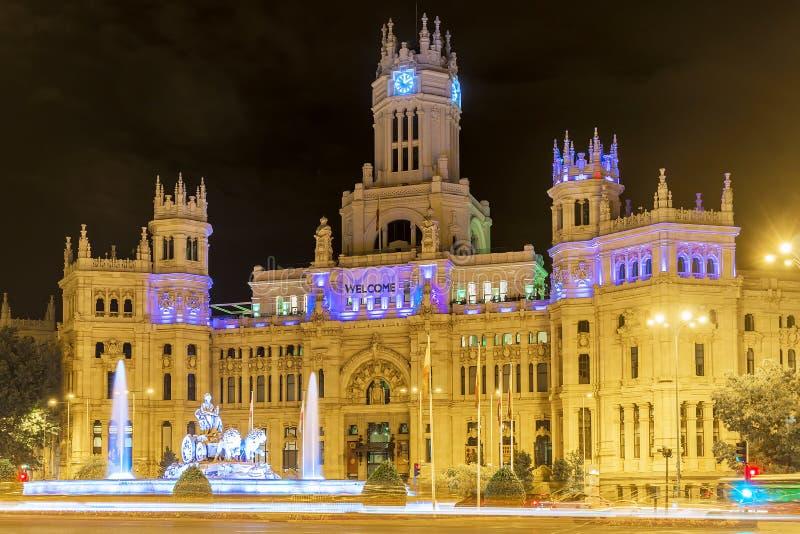 Opinião da noite da plaza Cibeles no Madri, Espanha fotos de stock royalty free