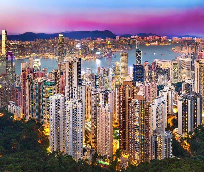 Opinião da noite da skyline de Hong Kong fotografia de stock royalty free