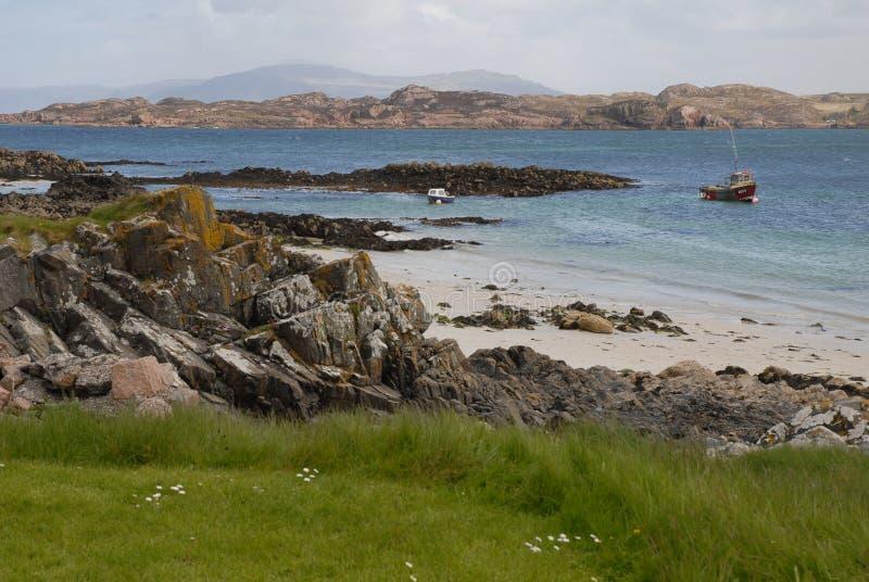 Opinião da paisagem da ilha de Iona fotos de stock