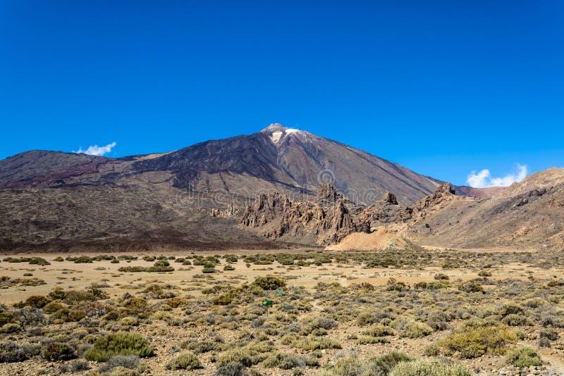Opinião da paisagem de Volcano Teide, parque nacional de Teide, Tenerife, Ilhas Canárias, Espanha - imagem fotos de stock
