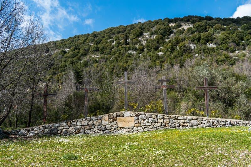 Opinião da paisagem em Líbano norte das montanhas e da floresta imagens de stock royalty free