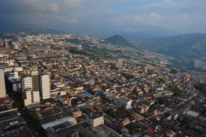 Opinião da parte superior da catedral, Manizales da cidade, Colômbia fotografia de stock