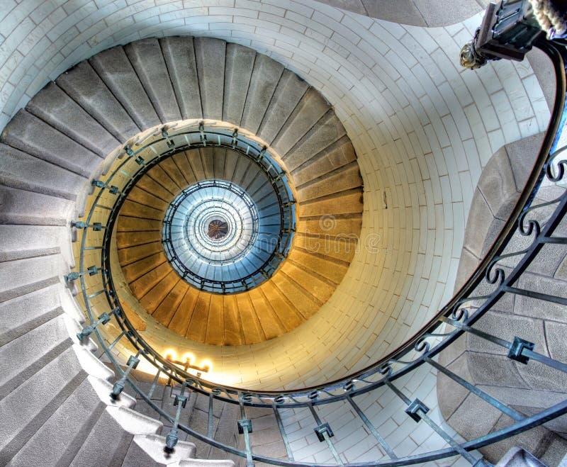 Opinião da parte superior de uma escadaria espiral foto de stock