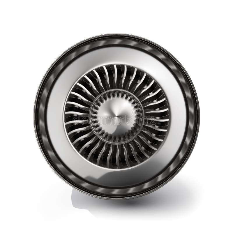Opinião da parte traseira do motor de jato isolada no fundo branco rendição 3d ilustração royalty free