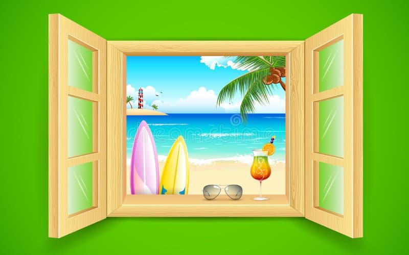 Opinião da praia do mar da janela ilustração stock