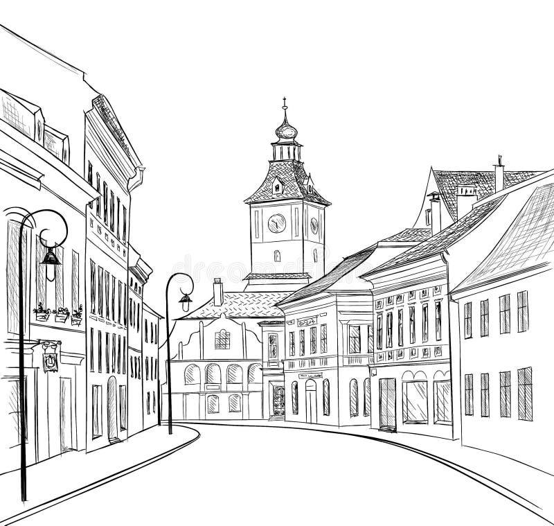 Opinião da rua da cidade skyline da arquitetura da cidade Construções, casas, revérbero ilustração stock