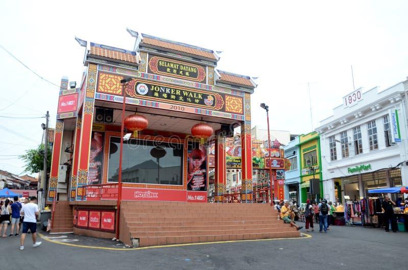 Opinião da rua da cidade velha em Melaka Malásia fotos de stock