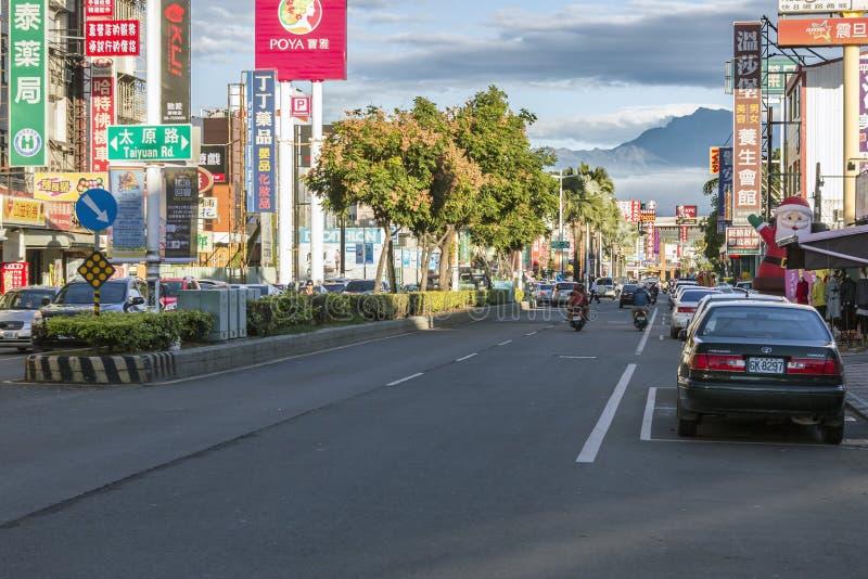 Opinião da rua da cidade de Pingtung, Taiwan fotos de stock