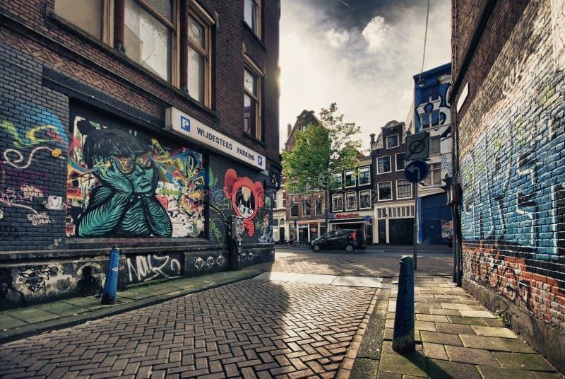 Opinião da rua de Amsterdão imagem de stock royalty free