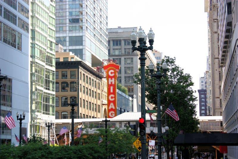 Opinião da rua de Chicago foto de stock
