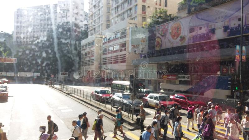 Opinião da rua de Hong Kong foto de stock royalty free