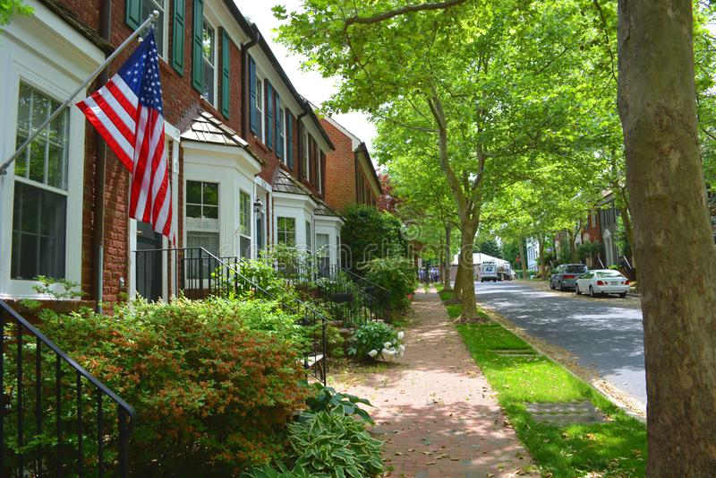 Opinião da rua de Maryland da cidade de Kentlands imagem de stock