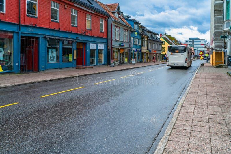 Opinião da rua de Tromso, Noruega imagem de stock royalty free
