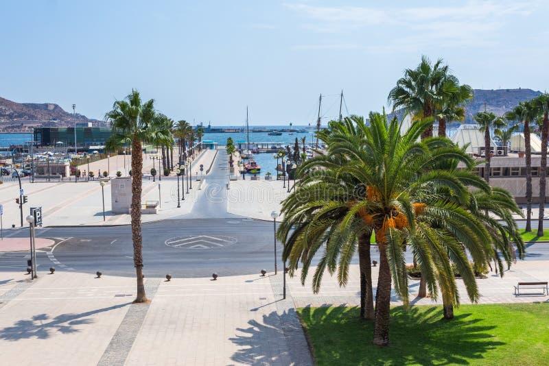 Opinião da rua em Cartagena, Espanha fotografia de stock royalty free