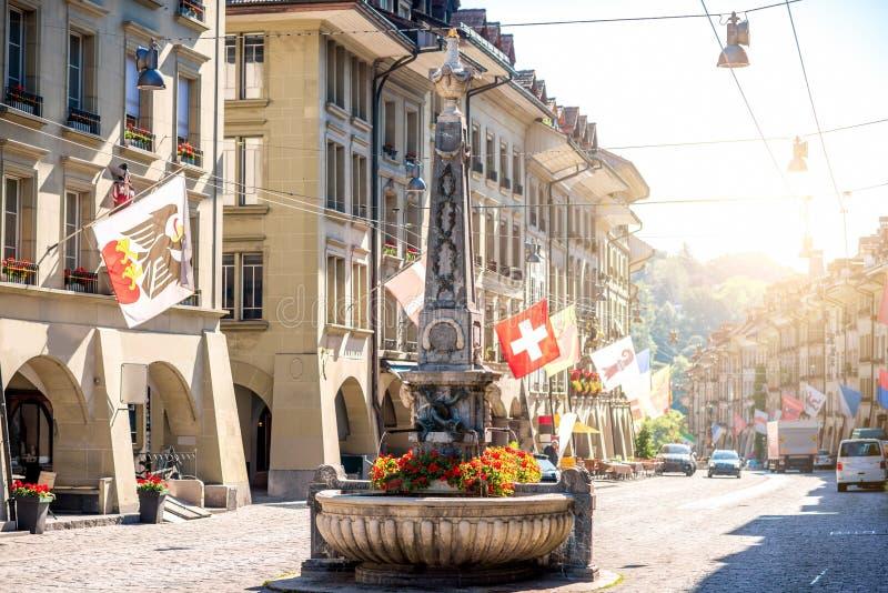 Opinião da rua na cidade de Berna fotografia de stock royalty free
