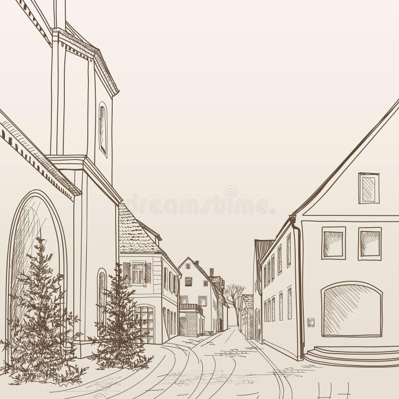 Opinião da rua na cidade europeia velha Arquitetura da cidade retro - casas, construções, árvore no corredor ilustração stock