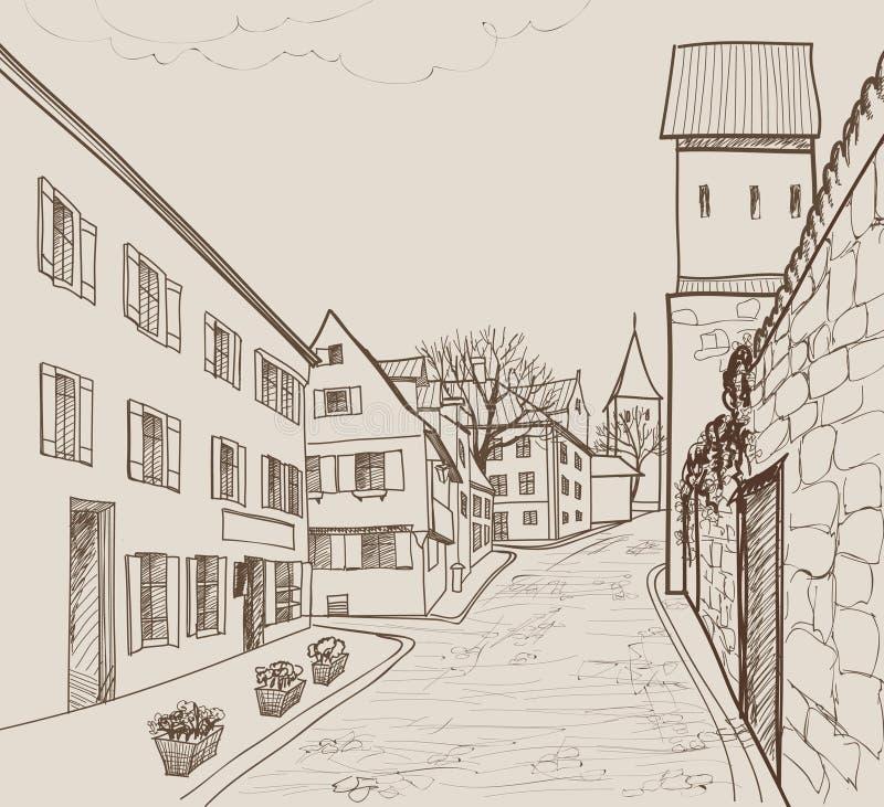 Opinião da rua na cidade europeia velha Arquitetura da cidade retro - casas, construções, árvore no corredor ilustração royalty free