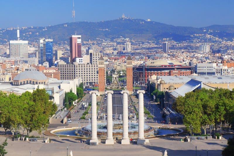 Opinião da skyline de Barcelona fotos de stock royalty free