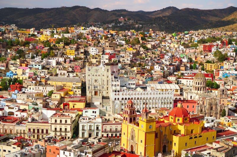 Opinião da skyline de Guanajuato México durante o dia imagem de stock