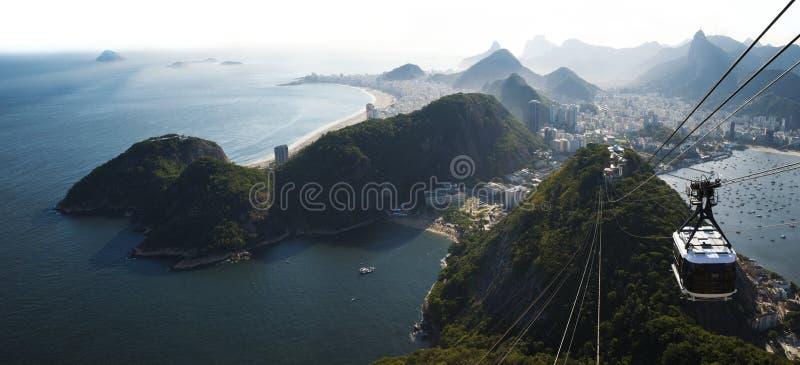 Opinião da skyline de Rio de janeiro da montanha de Sugarloaf, Brasil imagem de stock royalty free