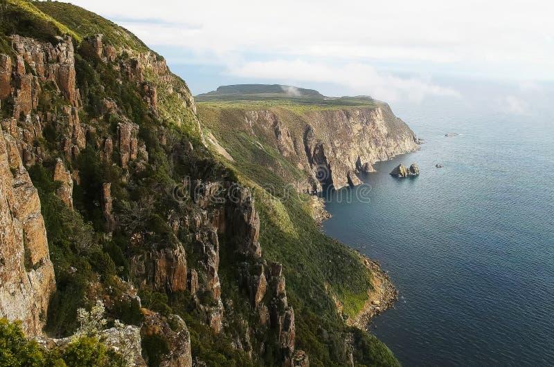 Opinião da tarde do cabo Raoul e da névoa do mar do verão em Tasmânia imagem de stock