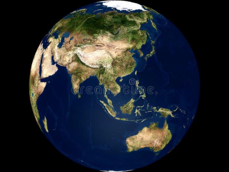 Opinião da terra - Ásia e Austrália ilustração stock