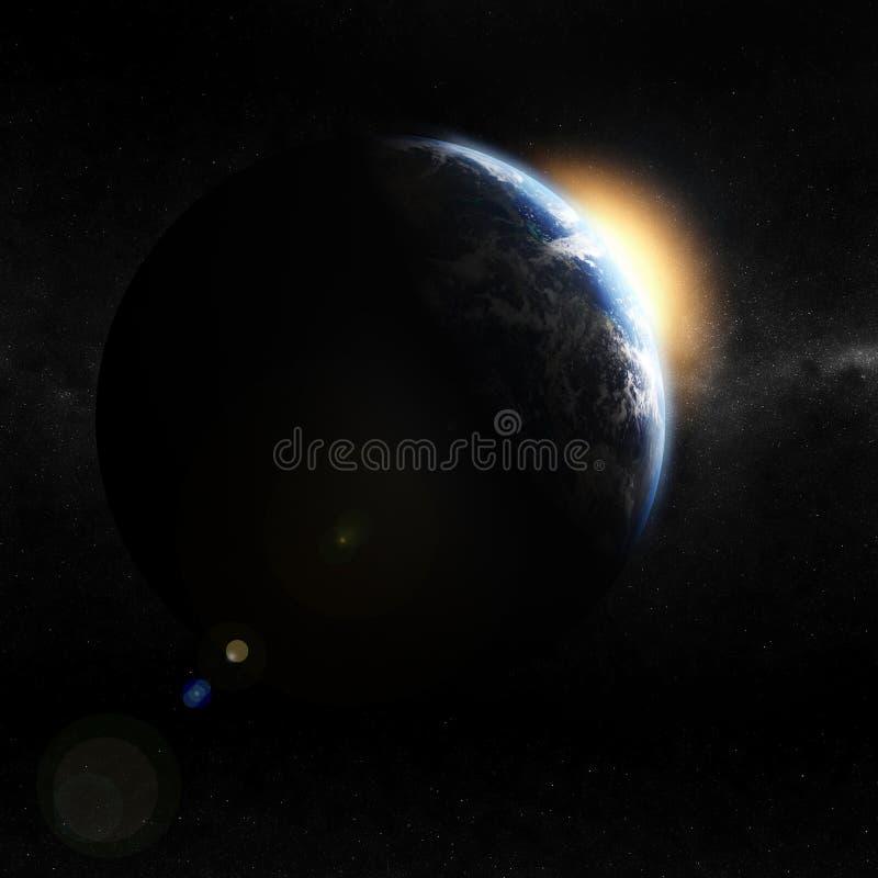 opinião da terra 3d do espaço ilustração stock