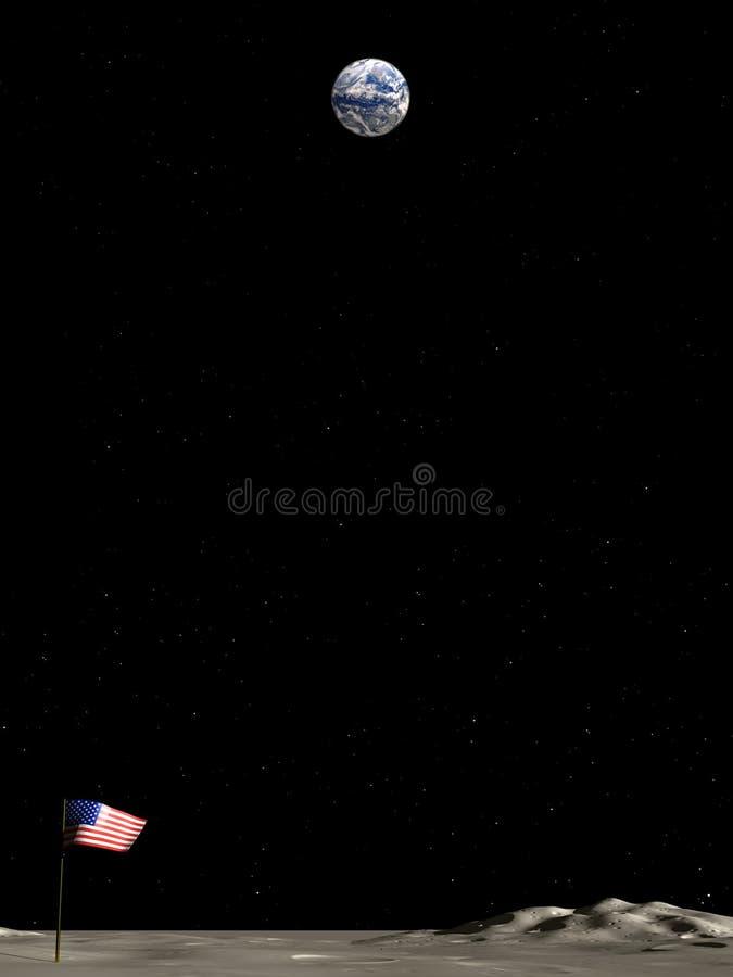 Opinião da terra da lua ilustração royalty free