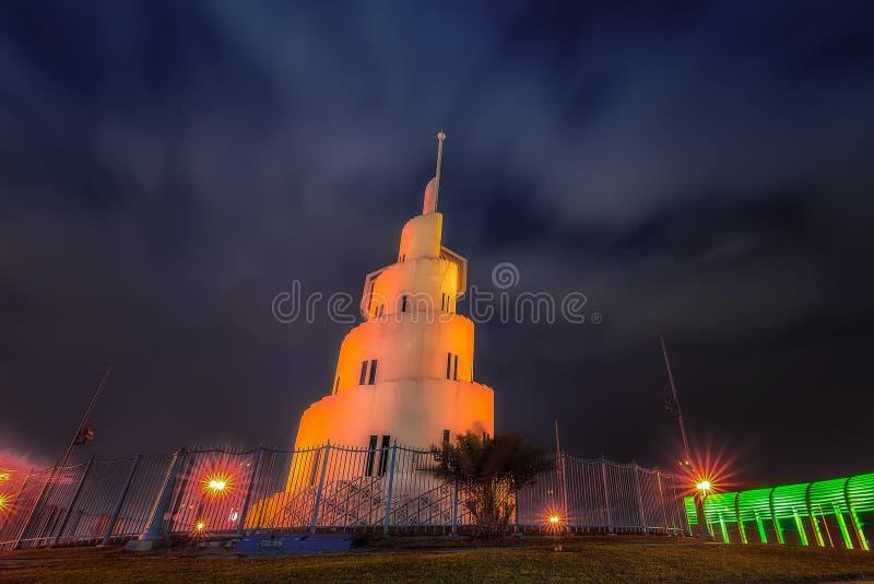 Opinião Dammam Arábia Saudita da noite da ilha de Marjan imagem de stock royalty free