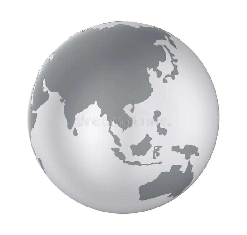 Opinião de Ásia do globo da terra isolada ilustração stock