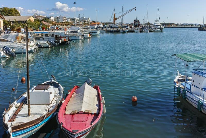 Opinião de Anoramic do porto e da cidade de Alexandroupoli, Grécia fotografia de stock royalty free