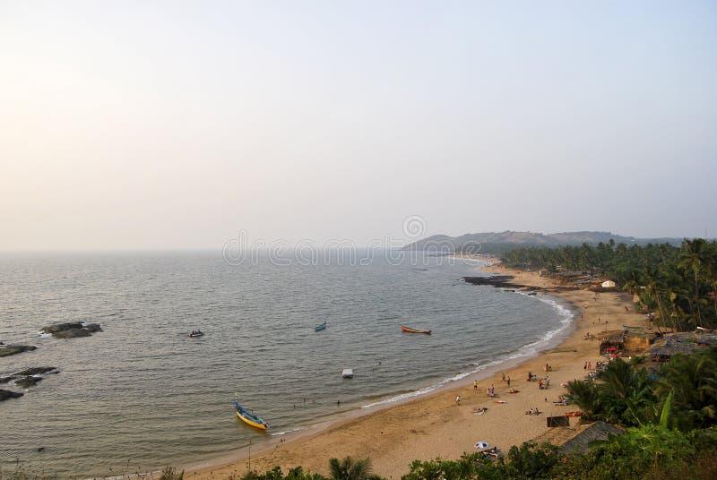 Opinião de Arial da praia de Anjuna foto de stock royalty free