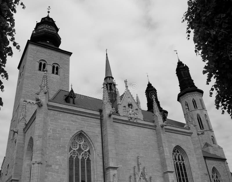 Opinião de baixo ângulo da catedral do St Mary's em Visby, Gotland, Suécia fotografia de stock royalty free