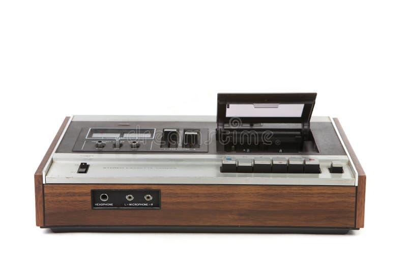 Opinião de baixo ângulo superior o jogador de gaveta audio do vintage fotografia de stock