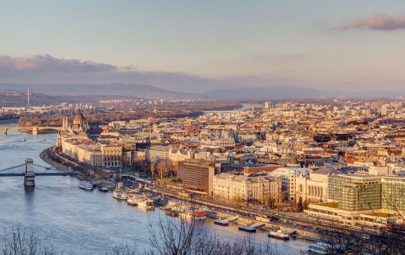 Opinião de Budapest do monte de Gellert, Hungria foto de stock