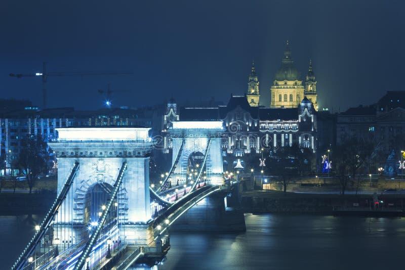 Opinião de Budapest na ponte Chain fotografia de stock royalty free