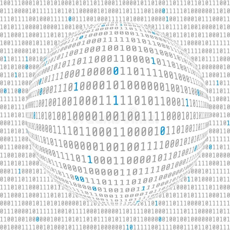 Opinião de dados binários CyberSecurity hemisfério côncavo do código binário com bocados chaves atribuídos Vetor ilustração royalty free