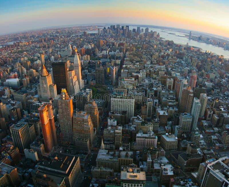 Opinião de Fisheye sobre mais baixo Manhattan, New York fotos de stock