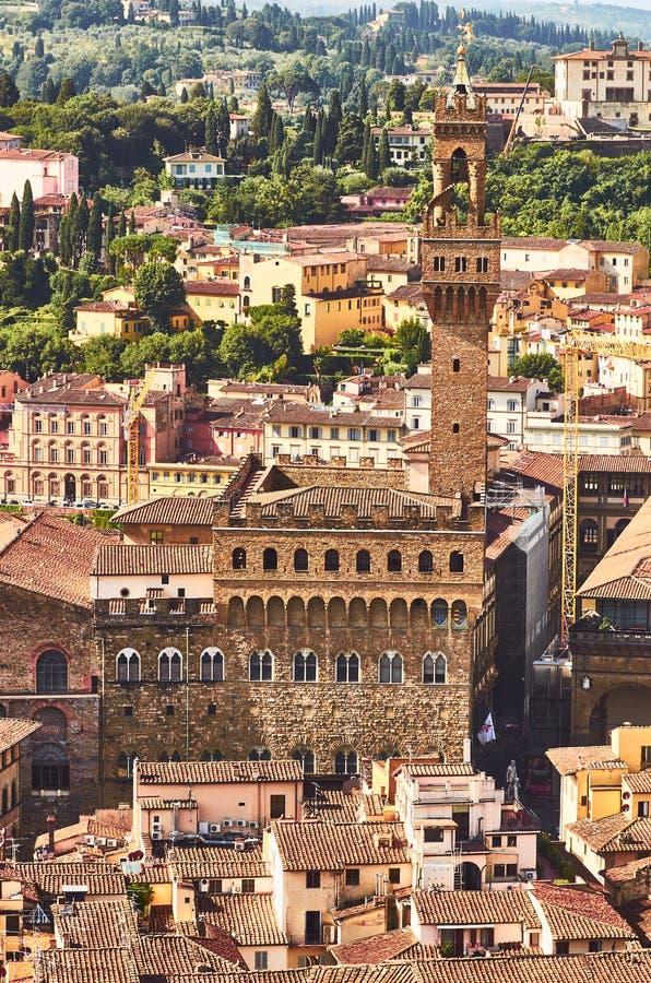 Opinião de Florença com vecchio do palazzo o palácio velho Toscânia Italia fotografia de stock royalty free