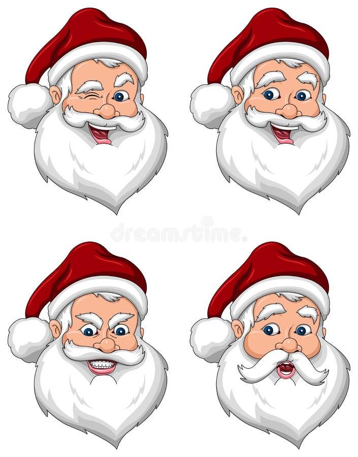 Opinião de frente das várias expressões de Papai Noel ilustração do vetor
