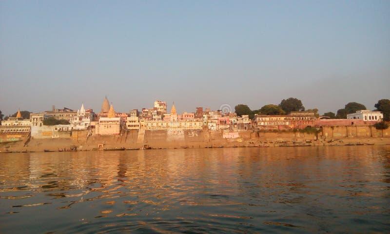 Opinião de Ganga em varanasi fotografia de stock royalty free