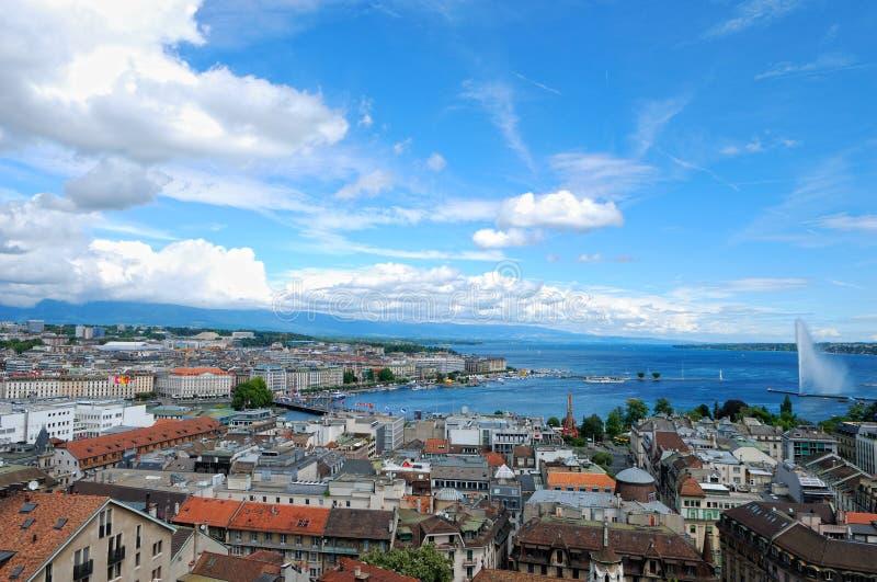 Opinião de Genebra fotografia de stock royalty free
