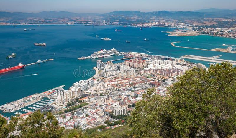 Opinião de Gibraltar de cima de fotografia de stock