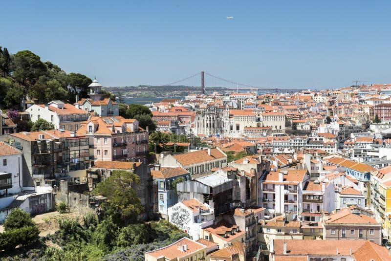 Opinião de Lisboa da cidade imagem de stock