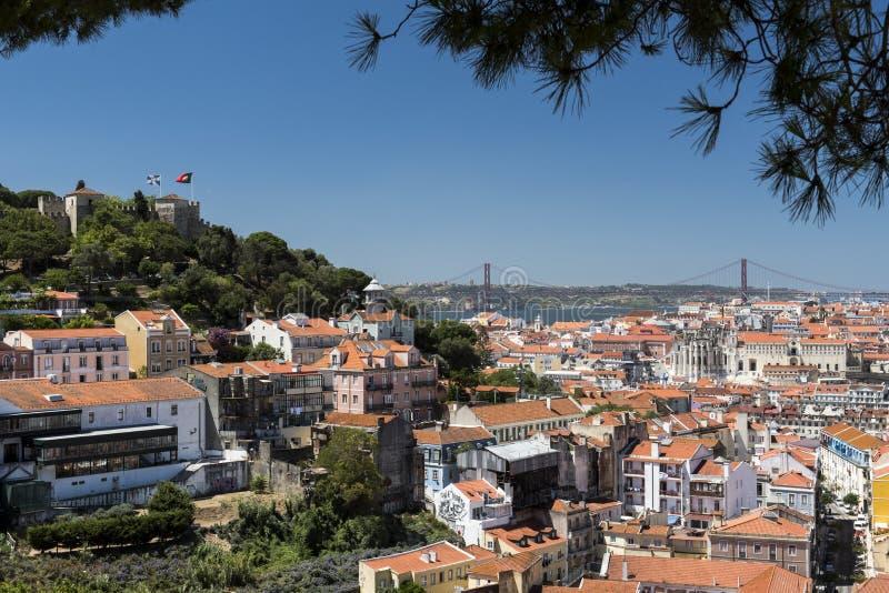 Opinião de Lisboa da cidade foto de stock