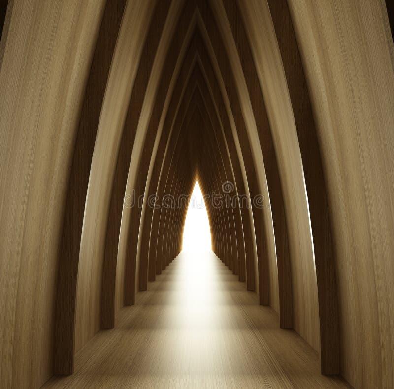 Opinião de madeira brilhada do corredor ilustração do vetor